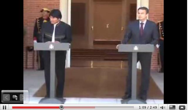 Entrevista entre Evo Morales y Zapatero - vídeo